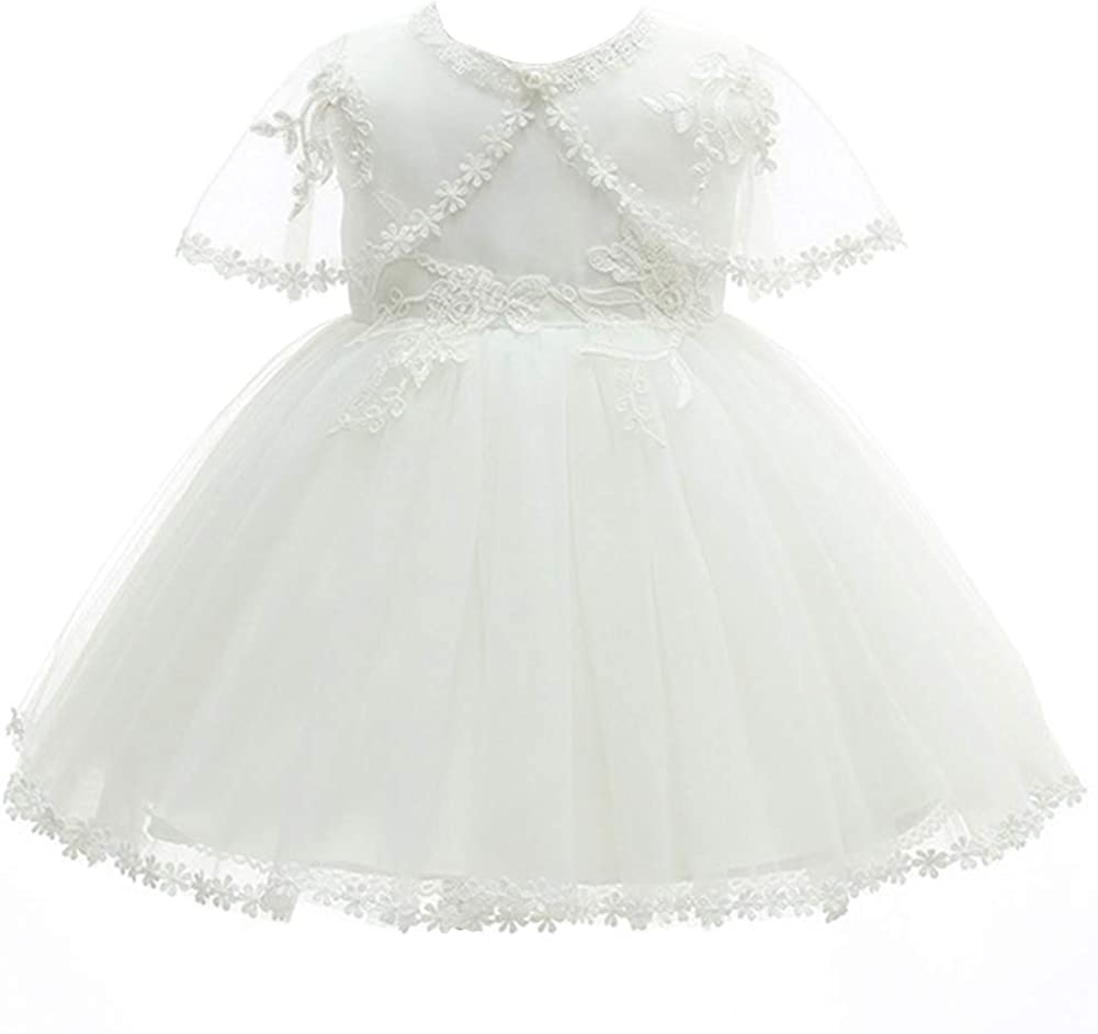 Happy Cherry Lace Gown Toddler Girls Formal Wedding Birthday Dress with Hat and Shawl for Baby Girls Dress Princess White 3-24 Months