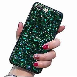 Full Dark Green Rhinestone With TPU Mobile Case