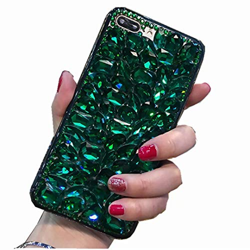 iPod Touch 7/ Touch 6/ Touch 5 Full Diamond Case, 3D Handmade Luxury Sparkle Crystal Rhinestone Diamond Glitter Bling Clear TPU Silicone Case Cover for iPod Touch 5th/6th/7th Generation(Full/Green)