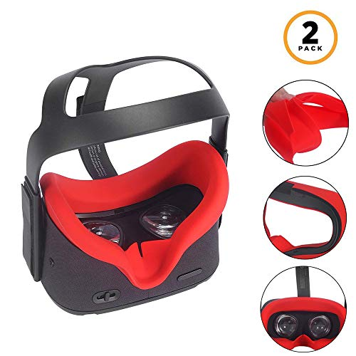 MASiKEN 2Pcs Face Cover Mask & Silicone Face Pad Replacement for Oculus Quest, Sweatproof Lightproof Washable Face Cushion