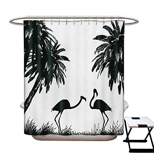BlountDecor Nature Shower Curtains Digital Printing Flamingo Birds and Palm Trees in Miami Exotic Tropical Natural Scenery Artwork Satin Fabric Bathroom Washable W72 x L72 Black White]()