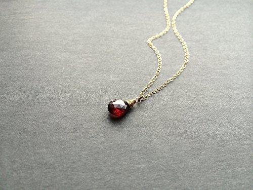 Natural Garnet Pendant Necklace - Veraidagifts - Gold Chain - January birthstone Elegant Handcrafted Garnet Pendant