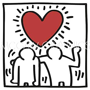 KH03 Keith Haring Abstract Contemporary Pop Art Figure Heart Love Poster Choose Size of Print