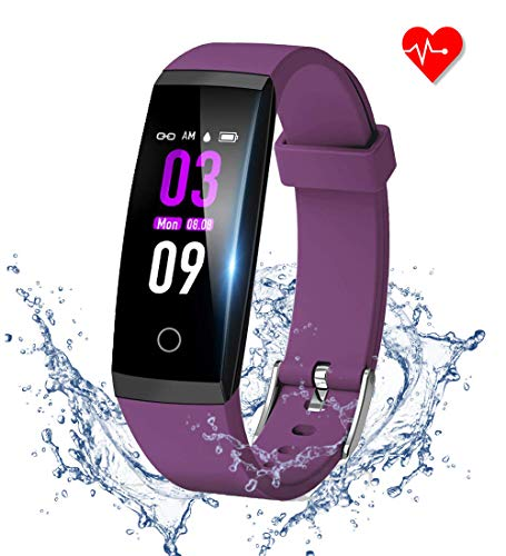 GOOPOW Fitness Tracker HR, Activity Tracker Watch with Heart Rate Monitor, Waterproof Smart Fitness Band with Step Counter, Calorie Counter, Pedometer Watch Kids Women and Men (Black+Purple)
