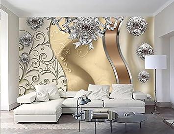 Lqwx Benutzerdefinierte Stereoskopischen 3D Tapeten Luxus Goldener Spitze  Schmuck Blumen 3D Wallpaper Für Wohnzimmer Malerei