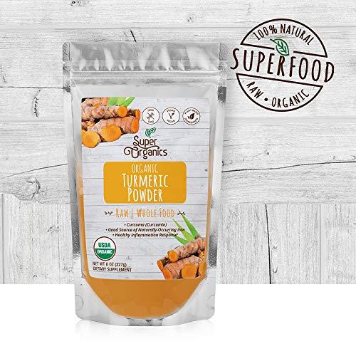 Super Organics Turmeric Root Powder | Good Source of Iron | Organic Superfood Powder | Raw Superfoods | Whole Food Supplement – Vegan, Gluten-Free & Non-GMO, 8 oz