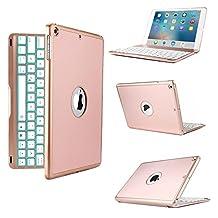 iPad Pro 10.5 Keyboard Case,JiiJian 7 Color LED Backlit Wireless Bluetooth Keyboard Auto Sleep Wake Function Protective Smart Folio Case Cover for iPad Pro 10.5-