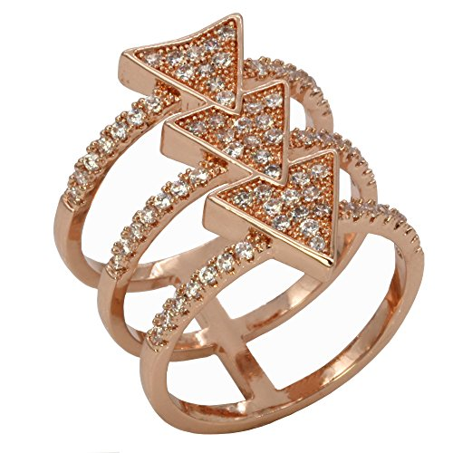 Women's Arrow Costume (Arrow Design CZ Rings Trendy Fashion Statement Micro Pave CZ Clear Cocktails Gold Plated for Women Party New Size 6 - 9 (Rose Gold, 9))
