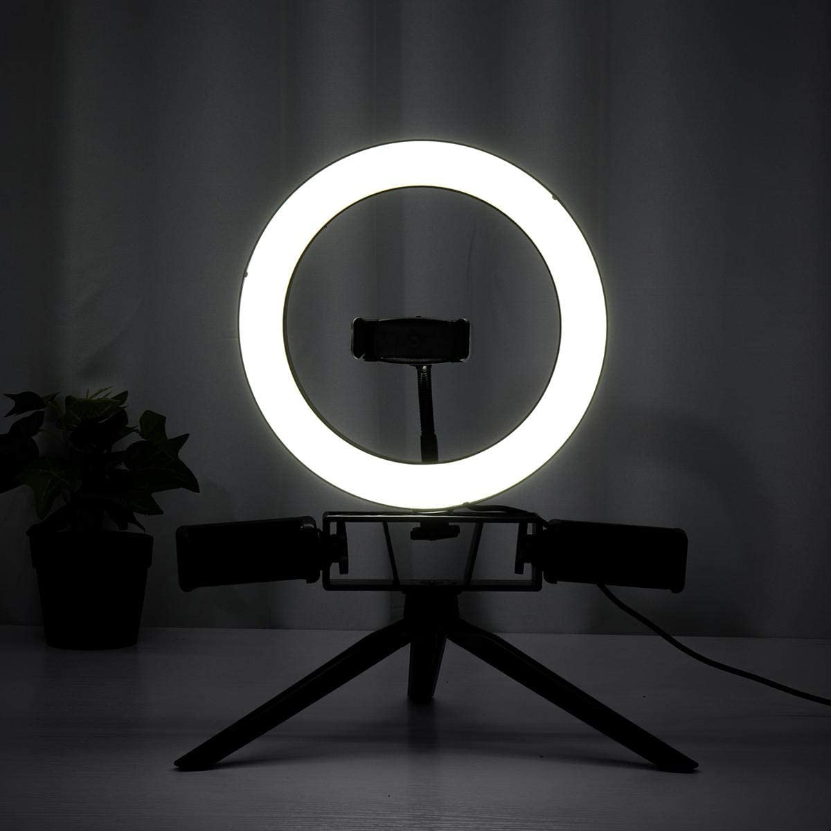 Color : White, Size : 8.7inch Canyixiu-Home Tripod Stand Phone Holder 8.7//12.6 Inch LED Video Ring Light with Stand 3 Phone Holder Dimmable Lamp Make-up YouTube LED Ring Light Kit