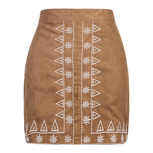 Clothink Women Faux Suede Floral Pattern Pencil Bodycon Mini Skirt Brown M All Over Floral Embroidered Skirt