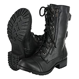 Top Moda Pack-72 Black Military Lace up Mid Calf Combat Boot (8 B(M) US, Premium Black+)