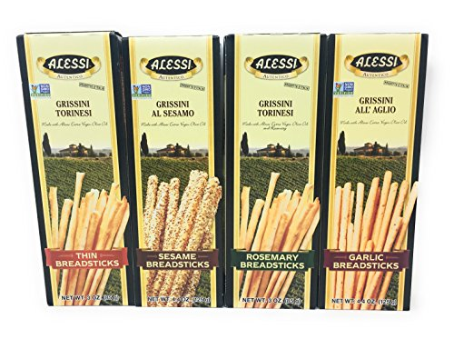 Alessi Authentic Italian Breadsticks 4 Flavor Variety Bundle: One Box Each of Thin, Rosemary, Sesame and Garlic (Italian Breadsticks)