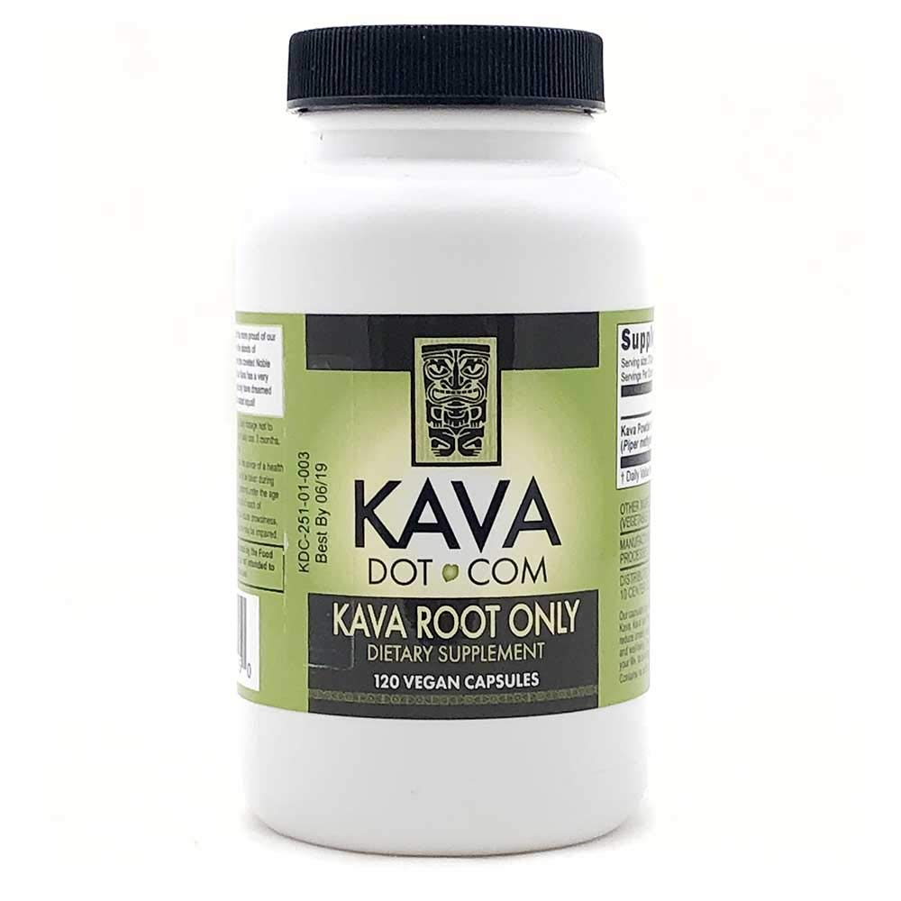 KavaDotCom Kava Root Extract 30% Kavalactone | Kava Root Extract Powder Capsules 30% Kavalactone | Kava Root Supplement for Relaxation, Sleep Support and Anxiety Relief (120 Capsules)