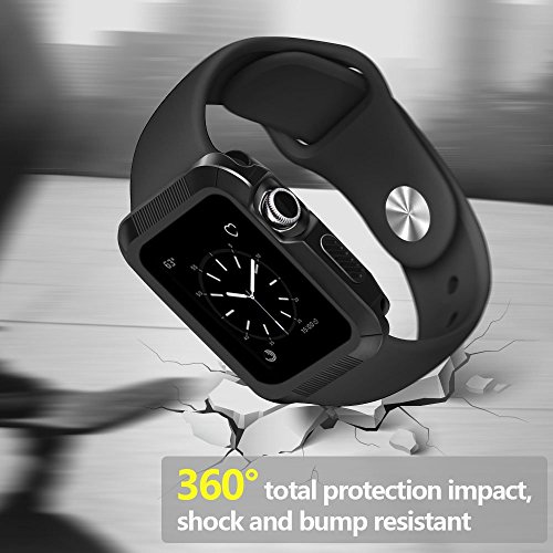 OULUOQI Compatible with Apple Watch Case 42mm, Shock-Proof and Shatter-Resistant Compatible with Apple Watch Protector Compatible with Apple Watch Series 3, 2, 1, Sport, Edition - Black/Black
