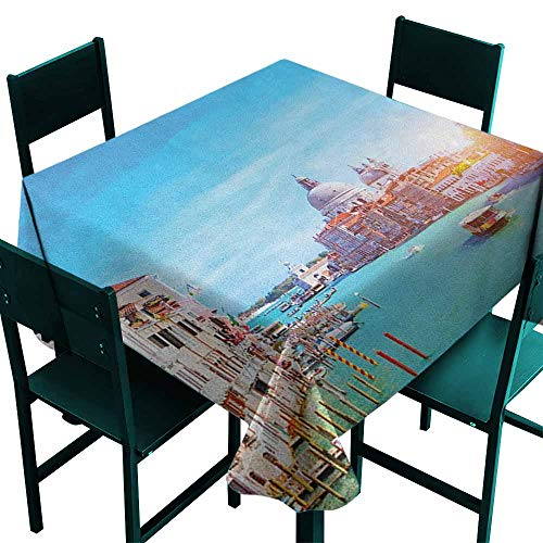 olyester Tablecloth Grand Canal and The Salute Basilica on Sunny Day Touristic Destination Indoor Outdoor Camping Picnic W50 x L50 Sky Blue White Cinnamon ()