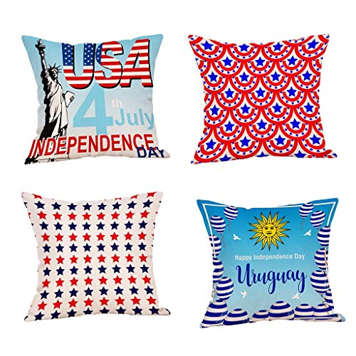 (Fulijie Set of 4 Throw Pillow Case Decor Independence Day American Flag Print Cotton Linen Cushion Cover 18 x 18 Inch)