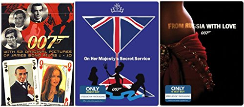 James Bond Steelbook Collection Blu Ray + DHD From Russia with Love Sean Connery + On Her Majesty's Secret Service 007 Set Limited Edition Playing Card Pack