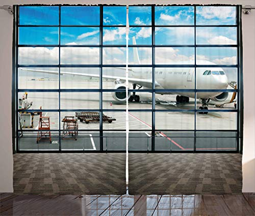 """Ambesonne Modern Curtains, China Shangai Airport with Big Jet Plane Wanderlust Traveller Photograph, Living Room Bedroom Window Drapes 2 Panel Set, 108"""" X 90"""", Sky Blue"""