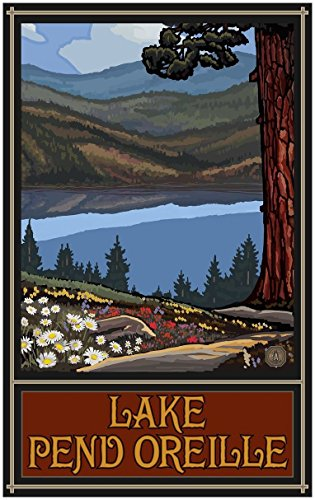 Lake Pend Oreille Idaho Trails Hills Travel Art Print Poster by Paul A. Lanquist (30