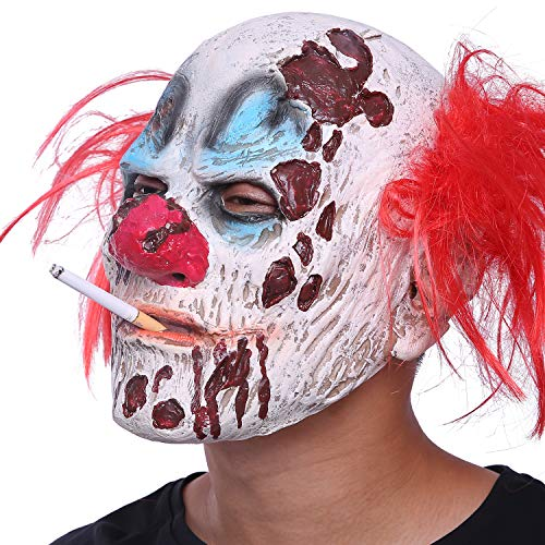daf283683 Halloween Clown Mask Full Head Latex Scary Clown Mask with Hair Mask for Halloween  Cosplay (