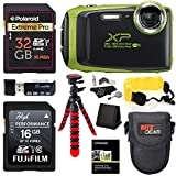 Fujifilm FinePix XP130 – Lime Green, 32GB SD Memory Card, Tripod, Case and Floating Strap Accessory Bundle For Sale