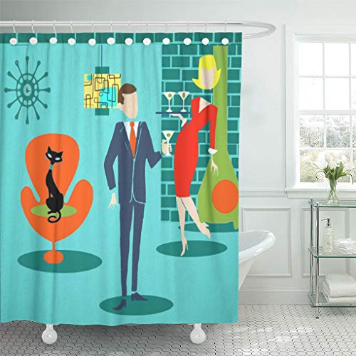 Semtomn Shower Curtain Orange Martini Space Age Cartoon Couple Teal Drinking Businessman 66