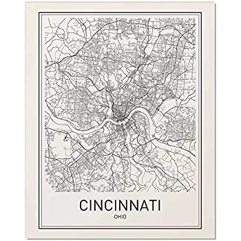Cincinnati Map Poster Ohio USA City Map Street Art Print Wall Decor 24x36 Unframed