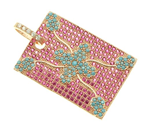 (GOODBEAD Fuschia & Turquoise Cubic Zirconia Pave Rose Gold Medium Rectangle Pendant with Clear CZ Pave Bail | DIY Necklace, Choker |)