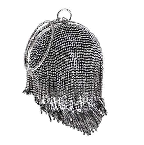 Dinner Evening Black White Dress Diamond Drill Tote Round Black Bottom Bag 4nwx1tqCT