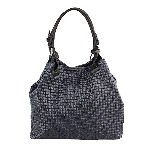 Mujer bolso con correa de hombro en cuero genuino trenzado patrón hecho en Italia Chicca Borse 34x29x18 Cm Azul