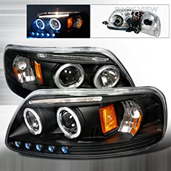 Spec-D Tuning 1997-2002 Ford Expedition, 1997-2003 Ford F150 Halo Led Projector Headlights Black