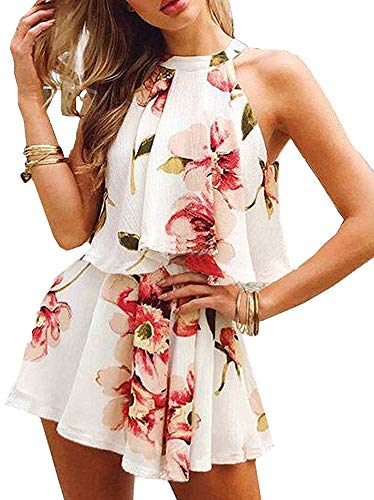 Summer Rompers for Women Casual Floral Printed Jumpsuits Elegant Sleeveless Playsuit 2 Piece Outfits (Best Jumpsuits Summer 2019)