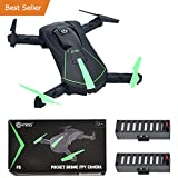 HOLIDAY SPECIAL! Contixo F8 Foldable Pocket Size Selfie Drone Voice Controls 720P HD Wifi Live FPV Video Camera 360 Stunts 8-10min Fly Time Gravity Control 2 Batteries - Best Gift For Christmas