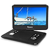 1366X768 14'' HD Portable DVD Player with High Resolution Large Swivel Screen, 5-Hour Rechargeable Battery, Support USB/SD Card, Last Memory and Region Free