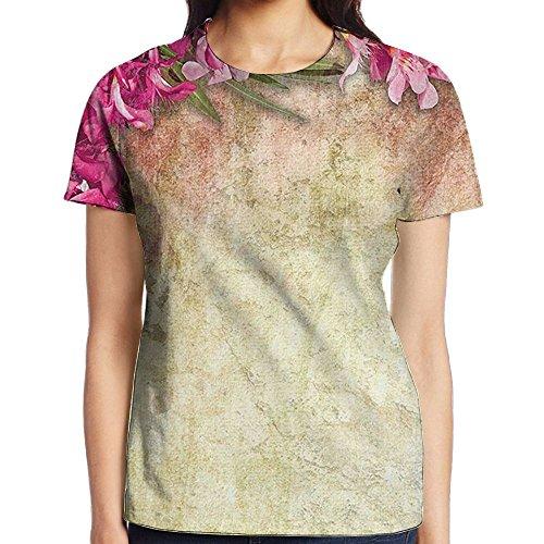 WuLion Vintage Illustration of Oleander Flowers Distressed Retro Background Women's 3D Print T Shirt L White