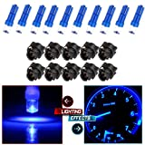 CCIYU 10 Pack T5 17 57 37 73 74 Blue Instrument Cluster Panel Gauge Dash LED Bulb light w/ Twist Sockets