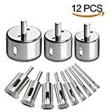 diamond core drill - 12Pcs Diamond Drill Bits Dr.meter Glass Tile Hole Saw Bits Set, Hollow Core Drill Bits, Extractor Remover Hole Saws for Glass, Ceramics, Porcelain, Ceramic Tile