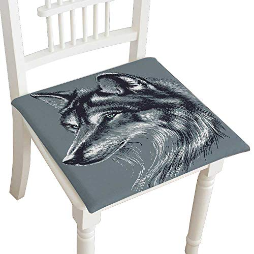 Head Pad Bath Chairs Reclining - HuaWuhome Dining Chair Pad Cushion Wolf Head Sketch Fashions Indoor/Outdoor Bistro Chair Cushion 30