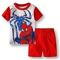 Boys Pajamas 100% Cotton Spiderman Short Kids Snug Fit Pjs Summer Toddler Sleepwear