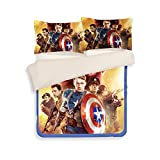 3D Captain America Bedding Sets - Sport Do Best Gifts for Movie Funs 100% Polyester Skinclose Fitted Sheet 3PC Twin