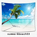 Beach Tropical Palm Tapestry Multi-purpose Ocean Decor Vacation Surf Decor Tapestry Wall Hanging for Bedroom Living Room Hawaii Beach Bright Sea Theme Print Dorm Decoration (3, 59Wx51L)