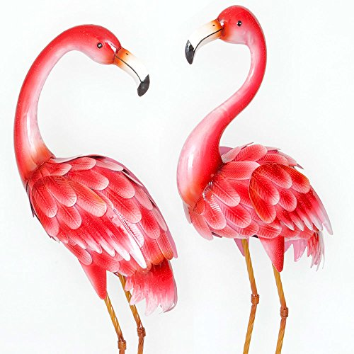 "t of Two (2) 35 ½"" Tall Metal Flamingo Garden Statues - Durable Outdoor Sculptures Make Great Home Décor ()"