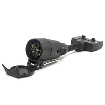 kkmoon 7-poliger Stecker Adapter rund weiblich zu Flach Stecker ...