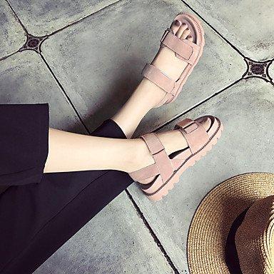 LvYuan Mujer Sandalias PU Primavera Verano Tacón Plano Blanco Negro Rosa Plano blushing pink