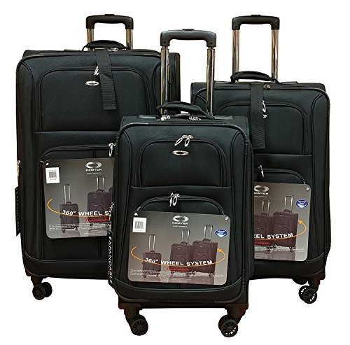 Wheeled Set Luggage 3 Piece (Kemyer 1000 Plus Series 3-PC Expandable Spinner Luggage Set (8 wheel-Black))