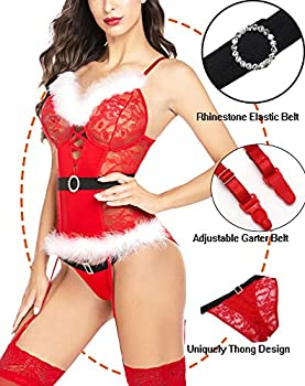 wearella Women Christmas Lingerie Holiday Babydoll Lingerie Lace Santa Chemise Garter Set