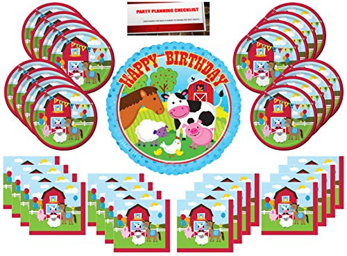Farmhouse Farm Animals Fun Party Supplies Bundle Pack for 16 (with 18 inch Balloon Plus Party Planning Checklist by Mikes Super Store) -