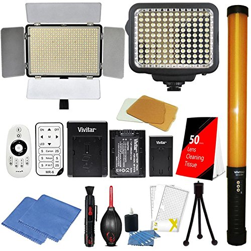 Price comparison product image Vivitar LED Video Lights 600 PCS LED and 120 PCS LED Light Panels + 289 PCS LED Video Light Wand 3200 / 5500K Color Temperature Dimmable Mounts on Camera Camcorder or Stand for Video Shooting or Studio