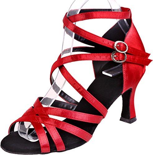 Satin Straps Ballroom Open Latin Sole Red Wedding Find Kitten Nice Shoes Tango Heel Dance Cha Cha Comfort Womens Body Toe Party Sudue Soft Swing ERxxX6wq