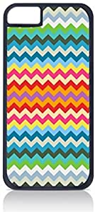 Colorful Zigzag Chevron Pattern- Case for the Apple iphone 5 5s Only-Hard Black Plastic Outer Shell